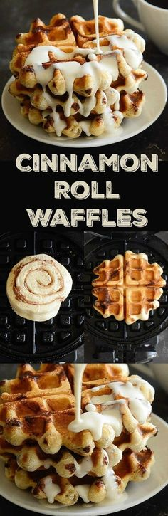 Cinnamon Roll Waffles with Maple Cream Cheese Syrup white christmas,breakfast and brunch What's For Breakfast, Breakfast Dishes, Breakfast Recipes, Breakfast Waffles, Breakfast Casserole, Cake Waffles, Mexican Breakfast, Pancake Recipes, Breakfast Sandwiches