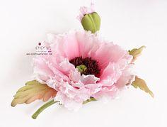 Silk flower Pink Poppy hair piece/brooch VIDEO TUTORIALS We teach you how to make silk flowers inspired by Nature… http://www.silkflowerartist.com/