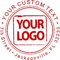 Custom 3 Line Logo Rubber Stamp