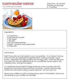 Fluffy Belgian Waffles - Darling Doodles Belgian-Waffles I made these tonight and added vanilla to t Yummy Waffles, Breakfast Waffles, Pancakes And Waffles, Best Breakfast, Fluffy Waffles, Brunch Recipes, Breakfast Recipes, Dessert Recipes, Drink Recipes