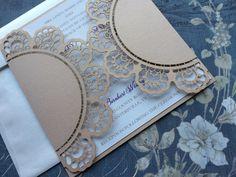 Laser Cut Wedding Invitations, Chantilly Lace Wedding Invitations, Custom Personalized Invitations