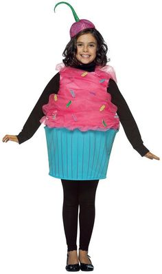 Sweet Eats Cupcake Costume. This adorable costume includes a tunic with a pink tulle top and a light blue bottom. Also includes a cherry top inspired headpiece to complete this cute little cupcake ensemble.