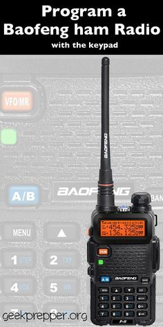 Program the BaoFeng ham radios to store required channels and frequencies in memory. Then you can return to them with the click of a button. geekprepper.org (scheduled via http://www.tailwindapp.com?utm_source=pinterest&utm_medium=twpin&utm_content=post1306719&utm_campaign=scheduler_attribution)