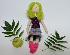 Fabric handmade doll with Green hair $59 #doll #handmade #fabricdoll
