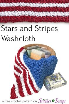 Celebrate this summer with the Stars and Stripes Washcloth! This design works well for team or school colors too. The star stitch pattern is fast and fun to make, and gives the washcloth its fabulous, scrubby texture. Get the free crochet pattern, and a photo and video tutorial for the star stitch, on Stitches n Scraps. #4thofjuly #crochet #washcloth #freepattern #Independenceday #StarsandStripes