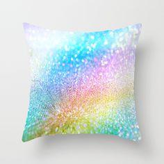 rainbow glitter Throw Pillow by Haroulita   Society6