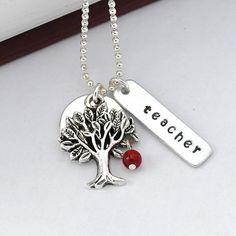 Teacher necklace, apple tree necklace, teacher appreciation necklace