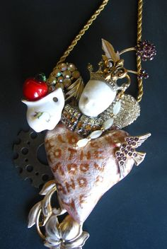 Vintage jewelry Upcycle Ornament assemblage collage Heart Love you to the moon Wall decor art relief sculpture fun One of a kind old doll by SusanSorrentino on Etsy