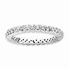 NEW 925 STERLING SILVER RHODIUM PLATED DIAMOND STACKABLE 1/5 CT TW RING SIZE 7 #StackableExpressions #Stackable