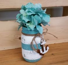 Nautical Themed Mason Jar with Teal Hydrangeas - Rusty Anchor - Twine- Chalk Painted Jar
