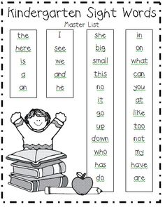 Kindergarten sight words great ideas ingles niños, actividades de ingles, o Kindergarten Readiness, Homeschool Kindergarten, Preschool Learning, Early Learning, Fun Learning, Learning Activities, Kindergarten Sight Words List, Preschool Sight Words, Homeschooling