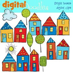 bright little houses digital Clipart