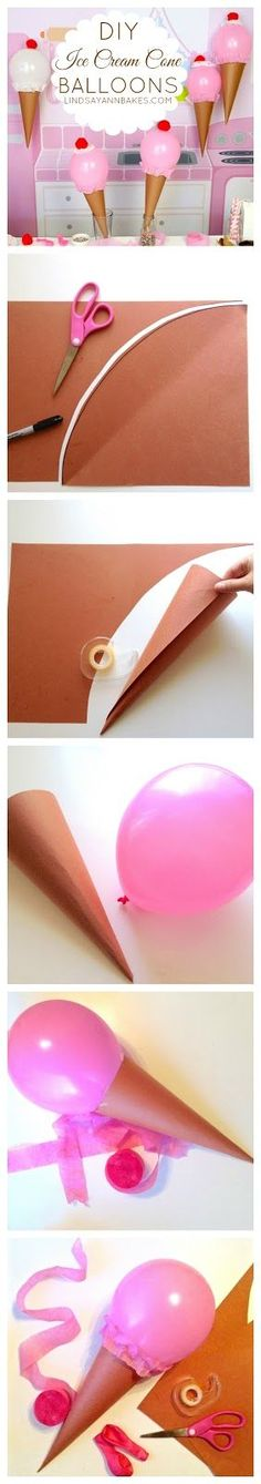 DIY Ice Cream Cone Balloons for your baking, cookie, or sweet treats classroom decorations. Unique!!