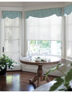 For exam rooms Horizontal Sheer Shadings in 15136 Dove, Layered with a Hamilton Upholstered Cornice in 14969 Priya/ Teal Bay Window Living Room, Boho Living Room, Living Room Decor, Living Rooms, Sheer Shades, Shades Blinds, Boho Curtains, Curtains With Blinds, Window Blinds