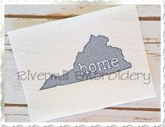 Sketch Style Virginia Home Machine Embroidery Design