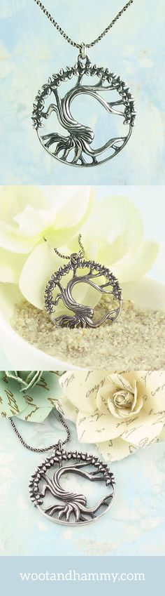 An old, twisted tree of life reaches its branches into the sky, crowning the top of the tree with a full bloom of flowers. Meticulously carved by hand and cast in solid sterling silver with an antiqued finish.