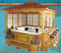 8ft x 8ft Garden House Mahogany Gazebo with Jacuzzi...need to build this summer.