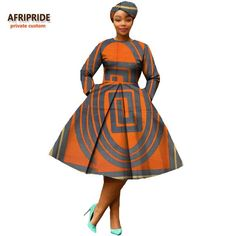 african clothing 2018 autumn women dress AFRIPRIDE full sleeve calf-length ball grown women casual dress with headscraf Short African Dresses, African American Fashion, African Fashion Designers, Latest African Fashion Dresses, African Print Dresses, African Print Fashion, Africa Fashion, Ankara Fashion, African Dress Styles