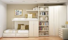 Beige Bunk Bed Design For Two Kids With Brown Pillows White Sheet Bookcase Cabinet And Nightstand With Drawer In The Corner