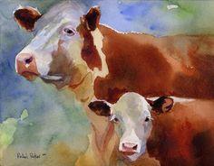 Hereford cow art Print of my watercolor painting by rachelsstudio