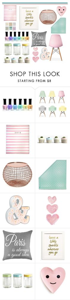 """Pastel Decore"" by georgiab2088 ❤ liked on Polyvore featuring interior, interiors, interior design, home, home decor, interior decorating, Ciel, Eccolo, Dot & Bo and Vintage Marquee Lights"