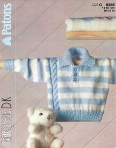 Patons 8356 Knitting Pattern Baby's Striped by PatternaliaVintage Strickmuster Items similar to Patons 8356 Knitting Pattern ~ Baby's Striped Sweater With Cable Pattern in DK. on Etsy Baby Cardigan Knitting Pattern Free, Baby Boy Knitting Patterns, Knitted Baby Cardigan, Knit Baby Sweaters, Boys Sweaters, Knitting For Kids, Baby Patterns, Sweater Patterns, Baby Boy Sweater