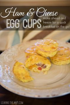 Ham and Cheese Egg Cups. Make ahead for a quick breakfast on the go!