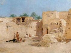 Algérie - Peintre Français  Émile BOIVIN(1846-1920), Huile sur toile, Titre:  Biskra