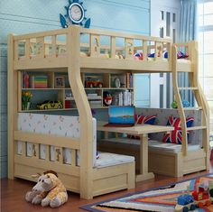Webetop Modern Children Bed Living room Bunk Bed Solid Wood Home Furniture Household Furnishing Mother & Son Beds litera