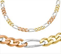 14kt Trio Gold Figaro Chain 5.8 mm Width 22 Inch Long (28.6 Grams) by RG&D