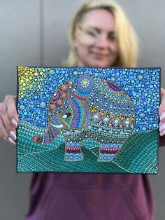 Hand Painted Dotted Elephant - Photography İdeas,Photography Poses,Photography Nature, and Vintage Photography, Mandala Canvas, Mandala Dots, Mandala Design, Dot Art Painting, Mandala Painting, Painting Quotes, Painting Tips, Painted Rocks, Hand Painted