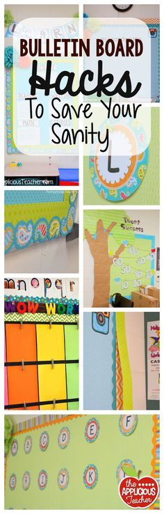 Board Hacks to Save Your Sanity Bulletin board hacks to save your sanity. Time saving, money saving, and energy saving ideas!Bulletin board hacks to save your sanity. Time saving, money saving, and energy saving ideas! Classroom Hacks, Classroom Bulletin Boards, Classroom Design, Classroom Displays, Music Classroom, Kindergarten Classroom, Future Classroom, Classroom Setup, Library Displays