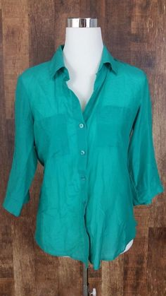 Ann Taylor Size 8 Bright Green Button Down Dress Career Shirt 3/4 Sleeve | Clothing, Shoes & Accessories, Women's Clothing, Tops & Blouses | eBay!