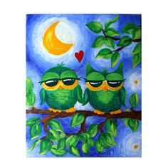 Romantic Art Whimsical Owl Painting OWL ALWAYS love YOU by nJoyArt, $90.00