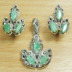 Three Stone Marquise Cut Genuine Emerald Marcasite 925 Sterling Silver Jewelry Set