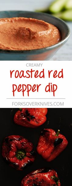 Easy dip or topping. Keep roasted red peppers and silken tofu on hand and you can make this sauce in five minutes. Use it as a dip for fresh vegetables or toss it with your favorite cooked pasta. Vegan Finger Foods, Vegan Foods, Vegan Dishes, Roasted Red Pepper Dip, Roasted Peppers, Raw Vegan Recipes, Vegetarian Recipes, Fondue, Tofu Sauce