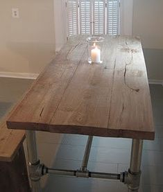 Industrial Pipe Leg Dining Table by Lapalletcreations on Etsy, $600.00