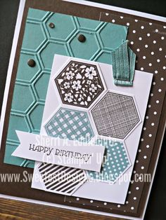 """Sweetest Designs: Happy Birthday Stamps: Six-Sided Sampler, Gifts of Kindness Ink: Early Espresso, Lost Lagoon CS: Early Espresso, Lost Lagoon, Whisper White Accessories: hexagon punch, big shot, honeycomb textured embossing folder, neutrals candy dots, basic rhinestones, 3/8"""" stitched satin ribbon in Lost Lagoon"""