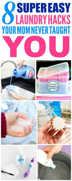 These 8 Laundry Hacks are the THE BEST! I'm so glad I found these AWESOME tips! Now I have some great ways to save money and time and fix clothing! Definitely pinning!