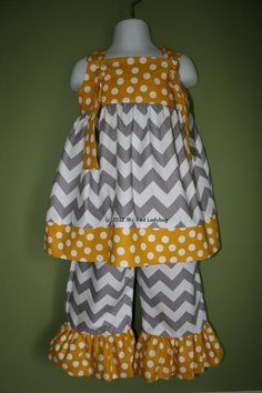 Grey and Yellow Chevron Outfit with Ruffle Pants by myredladybug, $48.50