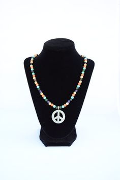 Mint Green Agate Peace Necklace. Peace by FlashinFashinJewelry