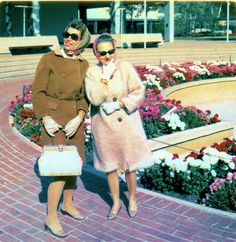 Oakbrook, Illinois, Autumn 1968. My Dad's cousin and my Mom visit Oakbrook Center. Mom is wearing that fabulous knitted coat.