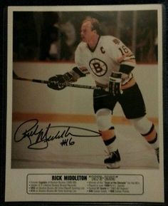 BOSTON BRUINS CAPTAIN RICK MIDDLETON  16 AUTOGRAPHED 8X10 COLOR PHOTO W COA 88031b281