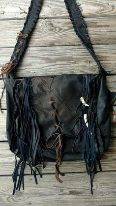 e0ed2c09f Details about Large Handmade Laptop Bag Case Black Leather Fringe Tote Boho  Hobo Purse tmyers