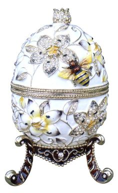 """Limited Edition Large Faberge Style Music Egg, 9.5""""(H) X 3.25""""(W), Weight: 3 lbs 12 oz.  Plays """"Fur Elise""""."""