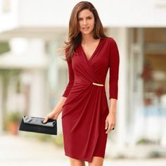 Women's Dresses, Dress Outfits, Fashion Dresses, Dresses For Work, Wrap Dresses, Dress Skirt, Dress Up, Bodycon Dress, Vestidos Color Vino