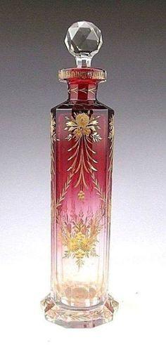 Antique Bohemian Moser Cranberry Art Glass Scent Perfume Bottle... http://ift.tt/2EMPfNT