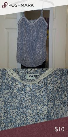 Floral Tank Top Extremely light weight. Bottom of shirt has fairly loose elastic to lay nicely. Lace trim around top. Daintily pleated across top and a quarter way down the middle Old Navy Tops Tank Tops