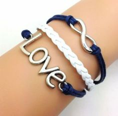 Vintage Style Silver Infinity Wish Love Bracelet Navy Blue Rope and White Braided Personalized Friendship Gift 2211r Retro Bracelet. $14.50