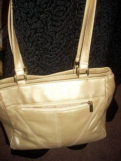 Genuine leather, multi compartment gold tone purse